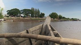 Fish boat, mekong , cambodia, southeast asia stock video footage