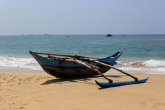 Fish boat on ocean shore Royalty Free Stock Image