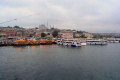 Fish Boat Restaurants In Eminonu, Istanbul - Turkey Royalty Free Stock Photo