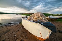 Fish boat with seine, fishnet. Closeup royalty free stock photos