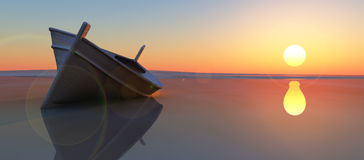 Fish boat and sunset Royalty Free Stock Photos