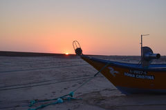 Fish boats in Praia d´Aguda beach Stock Images