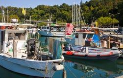 Fish boats at SIstiana harbor near Trieste Royalty Free Stock Image