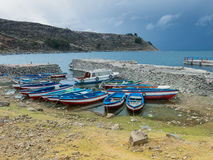 Fish Boats at Titicaca Lake, Peru Royalty Free Stock Photography