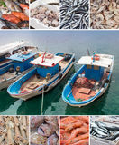 Fish boats and various fish on market Royalty Free Stock Photography