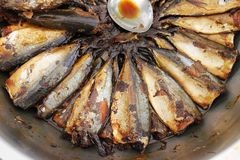 Fish boil in salt and soy sauce. A delicacy of Thai and Chinese culture cuisine in Thailand stock image