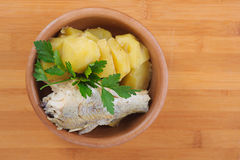 Fish with boiled potatoes Royalty Free Stock Photos