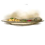 Fish with boiled potatoes. Illustration food, fried fish, trout, cod with boiled or fried potatoes Stock Photography