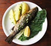Fish with boiled potatoes and lemon Stock Image