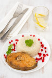 Fish with boiled rice Royalty Free Stock Images
