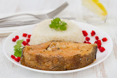 Fish with boiled rice Stock Photo