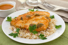Fish with boiled rice and glasses Stock Photos