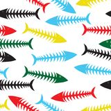 Fish bone background. Fishbone background. Vector fish bone seamless illustration. Sea wallpaper Stock Photos