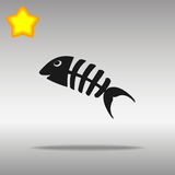Fish bone black Icon button logo symbol. Concept high quality on the gray background Royalty Free Stock Image