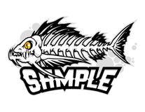 Fish bone cartoon mascot in  illustration. Animal cartoon mascot in  illustration. fish bones Stock Photo