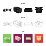 Fish bone, container for an animal, cat toilet, cat in a box. Cat set collection icons in black,flat,outline style. Vector symbol stock illustration Royalty Free Stock Photography