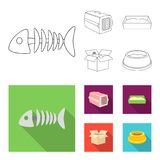 Fish bone, container for an animal, cat toilet, cat in a box. Cat set collection icons in outline,flat style vector. Symbol stock illustration Royalty Free Stock Photos