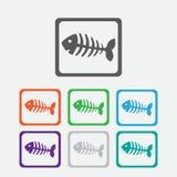 Fish bone, fish skeleton. Round squares buttons Stock Photos
