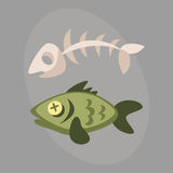 Fish bone garbage for recycling graphic wild cartoon sea skull life design and dead floating water pollution vector. Illustration. Animal nature food ecology Royalty Free Stock Photo