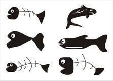 Fish bone I. Fish bone and fish shapes Stock Photos