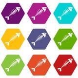 Fish bone icon set color hexahedron. Fish bone icon set many color hexahedron isolated on white vector illustration Stock Image