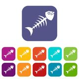Fish bone icons set flat Royalty Free Stock Image
