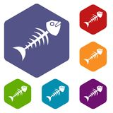 Fish bone icons set hexagon Royalty Free Stock Photography