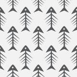 Fish bone monochrome seamless vector pattern. Black and white fishbone textile pattern design Stock Images