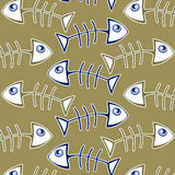 Fish bone pattern. Background in green Royalty Free Stock Images