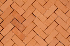 Fish- bone pattern. With red bricks on ground Royalty Free Stock Photos
