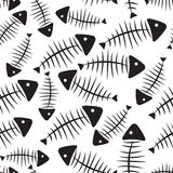 Fish Bone Seamless Pattern Background Vector. Illustration EPS10 Royalty Free Stock Photo