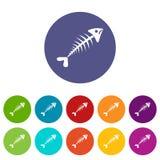 Fish bone set icons Stock Photography