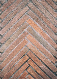Fish bone texture of aged red bricks. Pointing up detail vertical close up royalty free stock photos