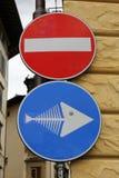 Fish bone traffic sign Stock Photos