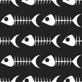 Fish bone vector pattern on white background. Fish bone vector seamless pattern on white background Royalty Free Stock Photos