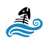 Fish bone in water, vector logo Stock Photo