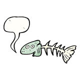 Fish bones cartoon. Retro cartoon with texture. Isolated on White Royalty Free Stock Images