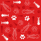 Fish bones and cats paws on red background. Seamless vector background with fish bones and cat's paws on red Royalty Free Stock Photos