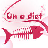 Fish bones diet. On a diet sign with funny fish bone illustration Royalty Free Stock Photos