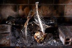 Fish bones of Gilt-head bream - Sparus aurata Stock Photo