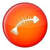 Fish bones icon, flat style Stock Photography