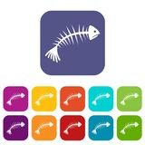 Fish bones icons set Royalty Free Stock Photo