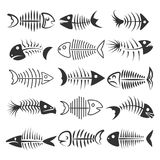 Fish bones silhouettes. Fish bones isolated on white background. Fishbone silhouettes vector illustration Stock Images