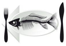 Fish bones on plate. Overfishing, fish bones on plate,  illustration Stock Photography