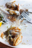 Fish bones on a plate Stock Photography