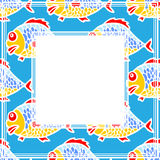 Fish border. Stylized sea fish pattern on a blue background Stock Photo