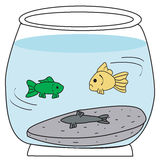 Fish bowl. Vector of fish swimming with a dead fish-eps file available Stock Image