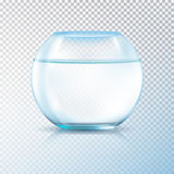 Fish Bowl Clear Water Transparent. Round walls glass tank fish bowl aquarium filled with clear water realistic image transparent background vector illustration Stock Photos