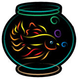 Fish in a bowl. A golden fish in a bowl against white background illustrated image Stock Photo