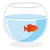 Fish in a bowl vector. Illustration of a golden fish in a bowl isolated on white background + vector eps file Stock Photos